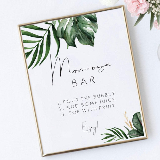 Tropical baby shower momosa bar sign palm leaf mimosa bar, Baby Shower sign, Printable green momosa bar sign, Instant Download 119 - MakeMeDigital