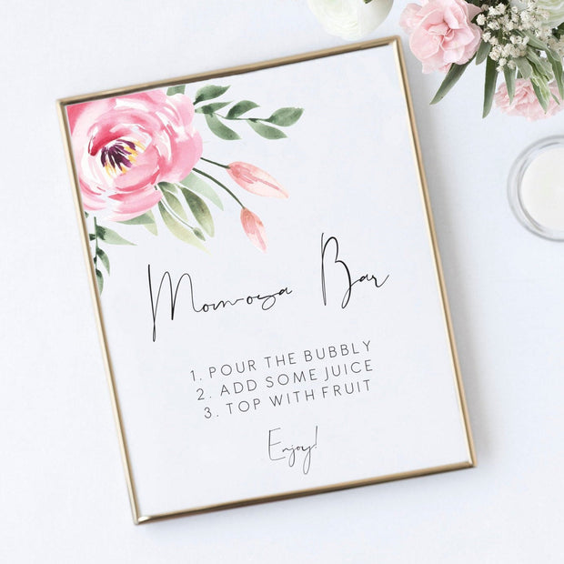 Serena Pink Peony Mom-osa bar sign - MakeMeDigital