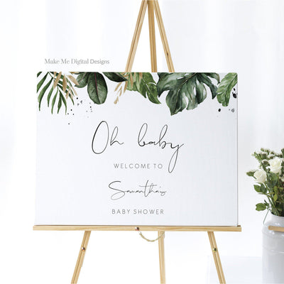 Tropical baby shower welcome sign Template baby welcome sign Printable Monstera shower Palm Leaf Editable welcome sign Banana Leaf 119 - MakeMeDigital