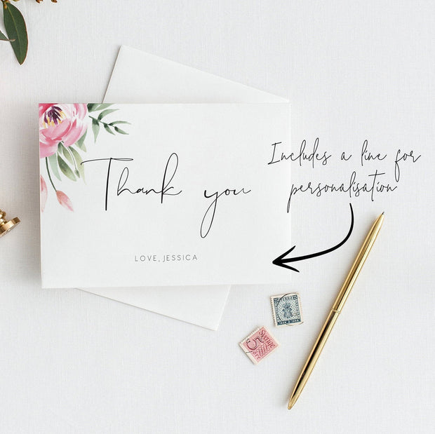 Serena Pink Peony Thank You Card - MakeMeDigital