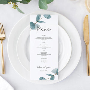 Nala Blue Eucalyptus Menu Card - MakeMeDigital