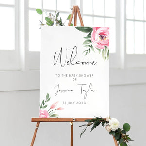 Serena Pink Peony Baby Shower Welcome Sign - MakeMeDigital