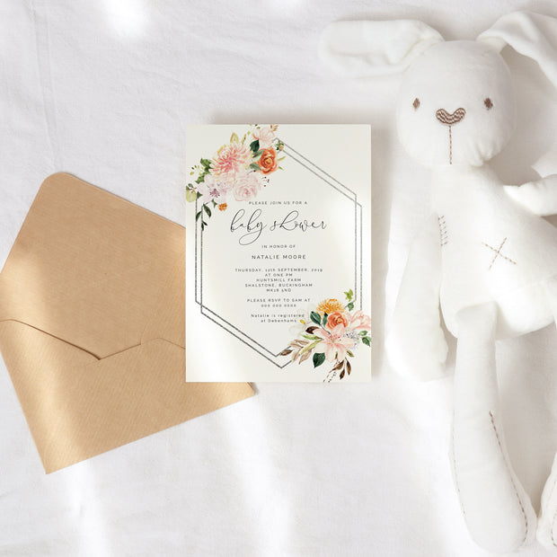 Autumn Floral Geometric Baby Shower invitation
