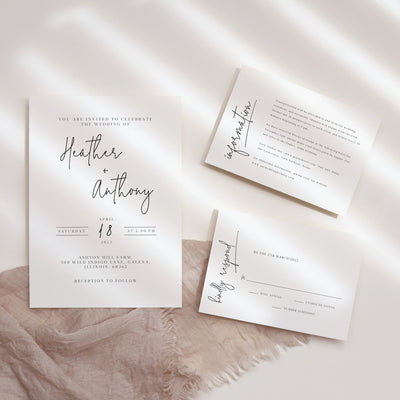 AMARA | Modern Minimalist Wedding Invite set of 3
