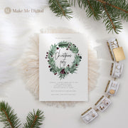 Rustic Holly Christmas Party Invite