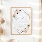 Autumn Floral Geometric Baby Shower Welcome Sign
