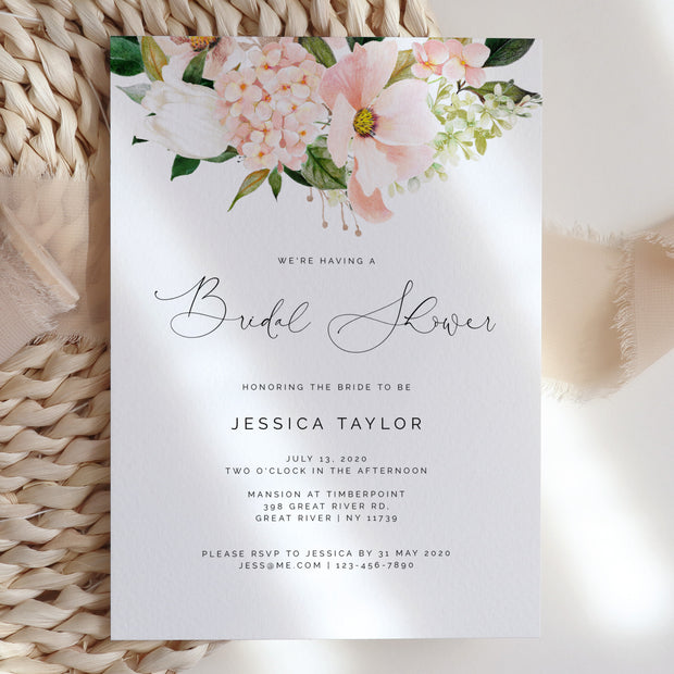 Pink hydrangea Bridal Shower Invitation