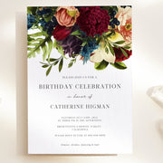 Burgundy Floral Birthday Invitation