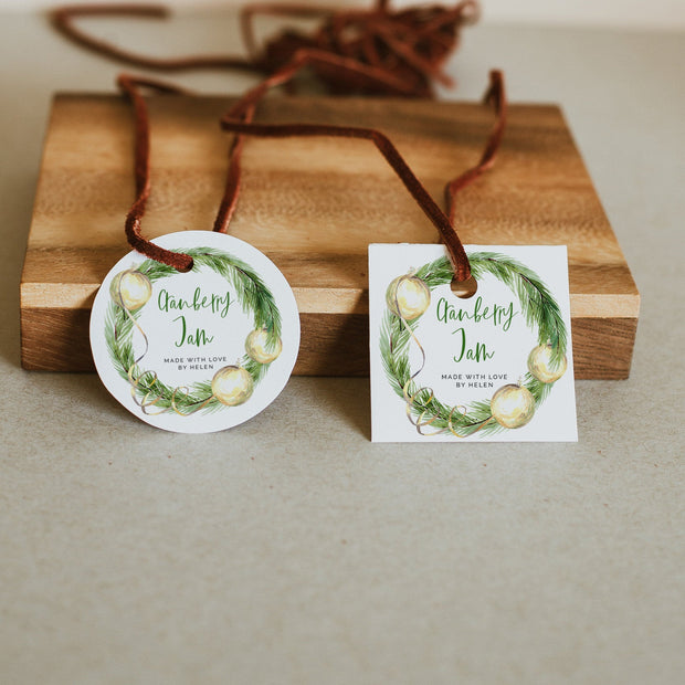 Green & Gold Christmas Homemade Jam Tag