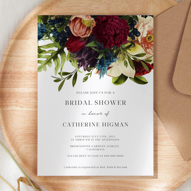 Burgundy Floral Bridal Shower Invitation