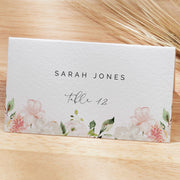 Pink Floral Wedding Place Cards, Blush Floral rose Editable Escort Cards, Instant Download, Peony Flat Folded Printable Place Card 129 - MakeMeDigital