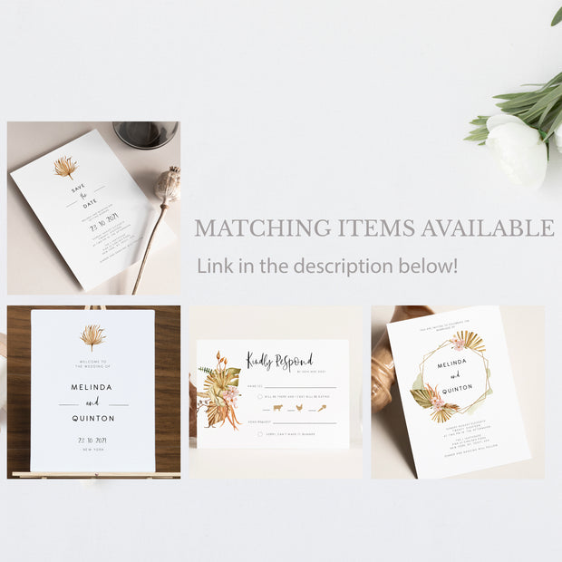 Savanna Pampass Grass Wedding Invitation Single - MakeMeDigital