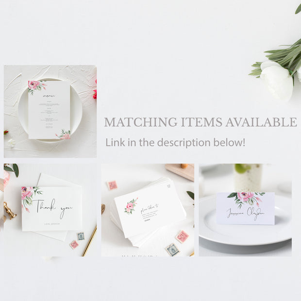 Serena Pink Peony Place Cards - MakeMeDigital