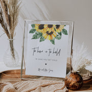 Sunflower Wedding To Have and To Hold Sign