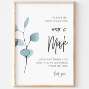 SARA | Eucalyptus Wear a Mask Sign - MakeMeDigital