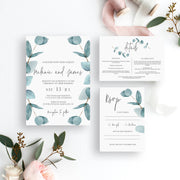 Nala Blue Eucalyptus Wedding Invitation - MakeMeDigital