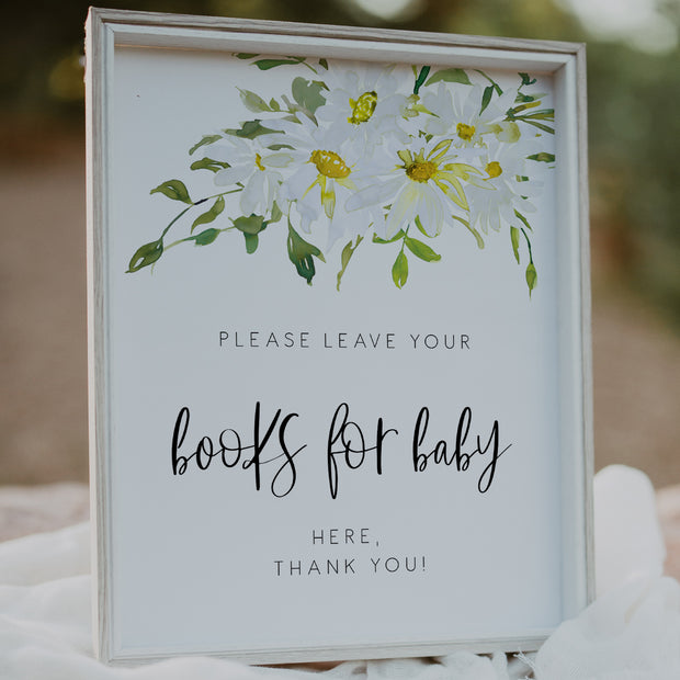 Delicate Daisy Books for Baby Shower Sign