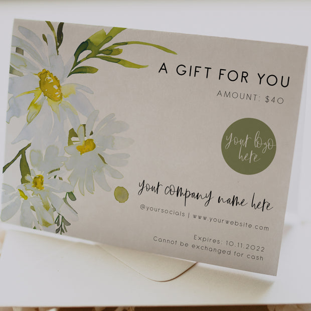 Delicate Daisy Small Business Gift Card Voucher