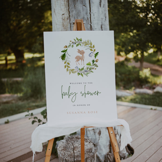 Woodland Deer Baby Shower Welcome Sign