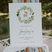 Woodland Deer Birthday Welcome Sign