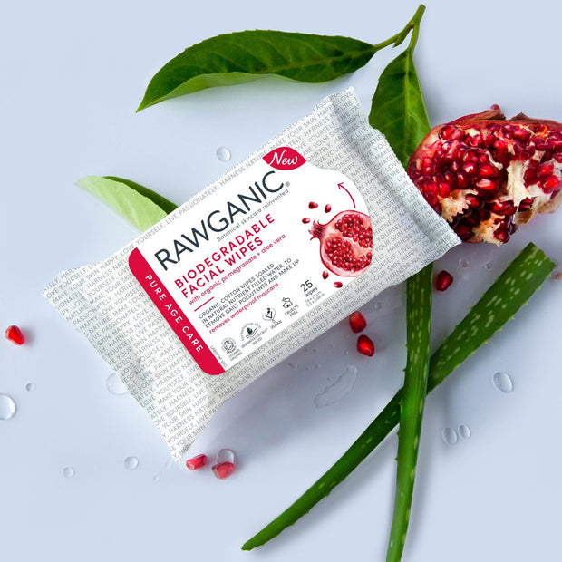 Organic cotton wipes soaked in a nutrient filled water will help you remove daily pollutants. Skin moisturising  biodegradable facial wipes  with pomegranate and aloe vera extracts. Simply the best face wipes on the market.