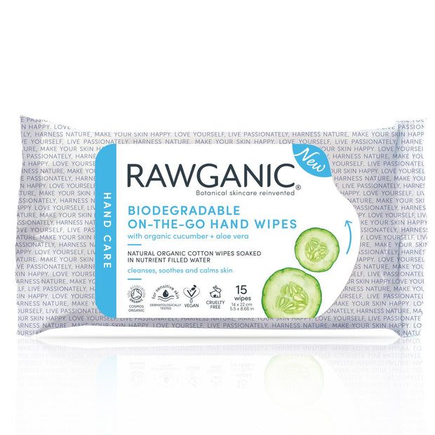 Our 100% biodegradable organic cotton hand wipes, soaked in water with cucumber and aloe vera extracts, will gently cleanse and care for your hands while on-the-go. Great for travel, when there's no water  available