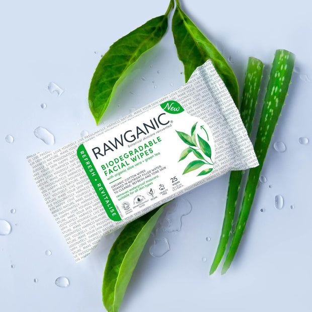 Rawganic refreshing facial wipes with aloe vera and green tea extracts to cleanse, tone and refresh skin . Gentle and dermatologically tested formulation will soothe and gently remove makeup. Made from 100% organic cotton, our wipes are 100% biodegradable and compostable.