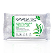 Rawganic refreshing facial wipes  are soaked in nutrient-filled water with aloe vera and green tea extracts. Super gentle on your skin., made from 100% organic cotton our wipes are 100% Biodegradable and compostable.