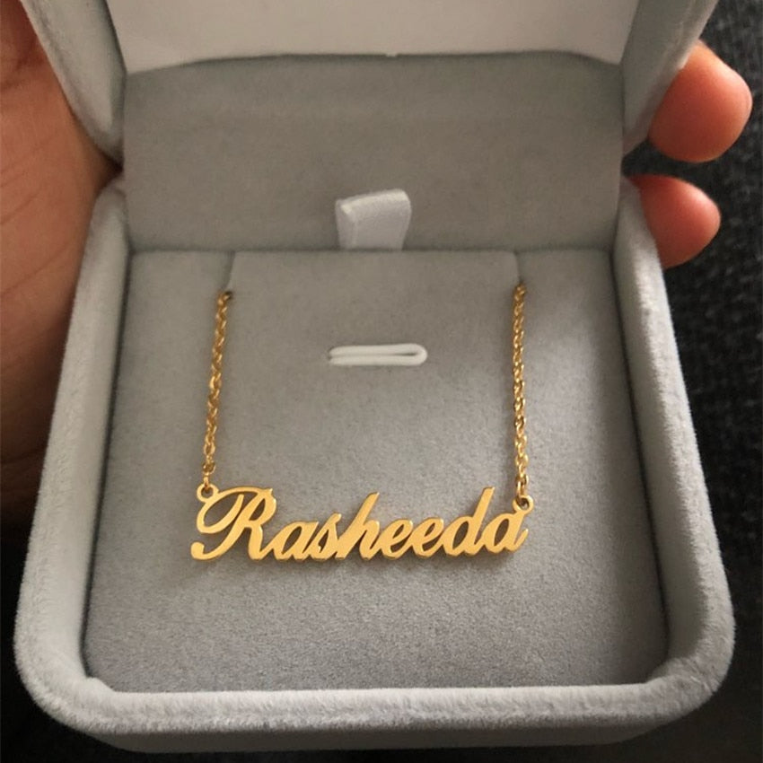 Stainless Steel Personalized Rectangle Custom Name Pendant Necklace Unisex Gift