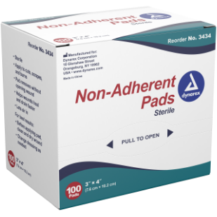 "GAUZE NON-ADHERENT STERILE 3""X4"" 4PLY 100CT"