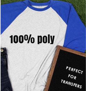 Adult Colored 95% Polyester Raglan Shirt *Multiple Colors Available*