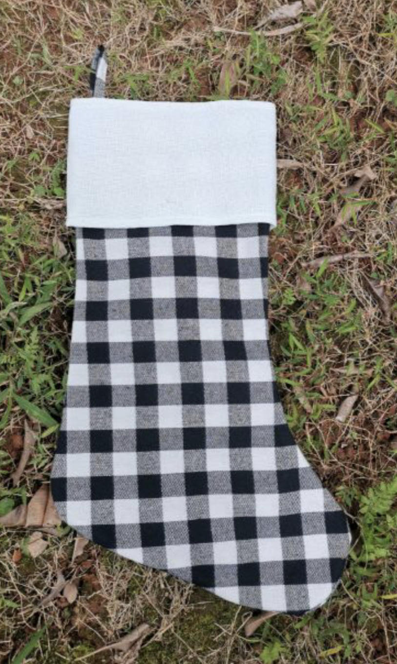 Christmas Stocking Black Plaid