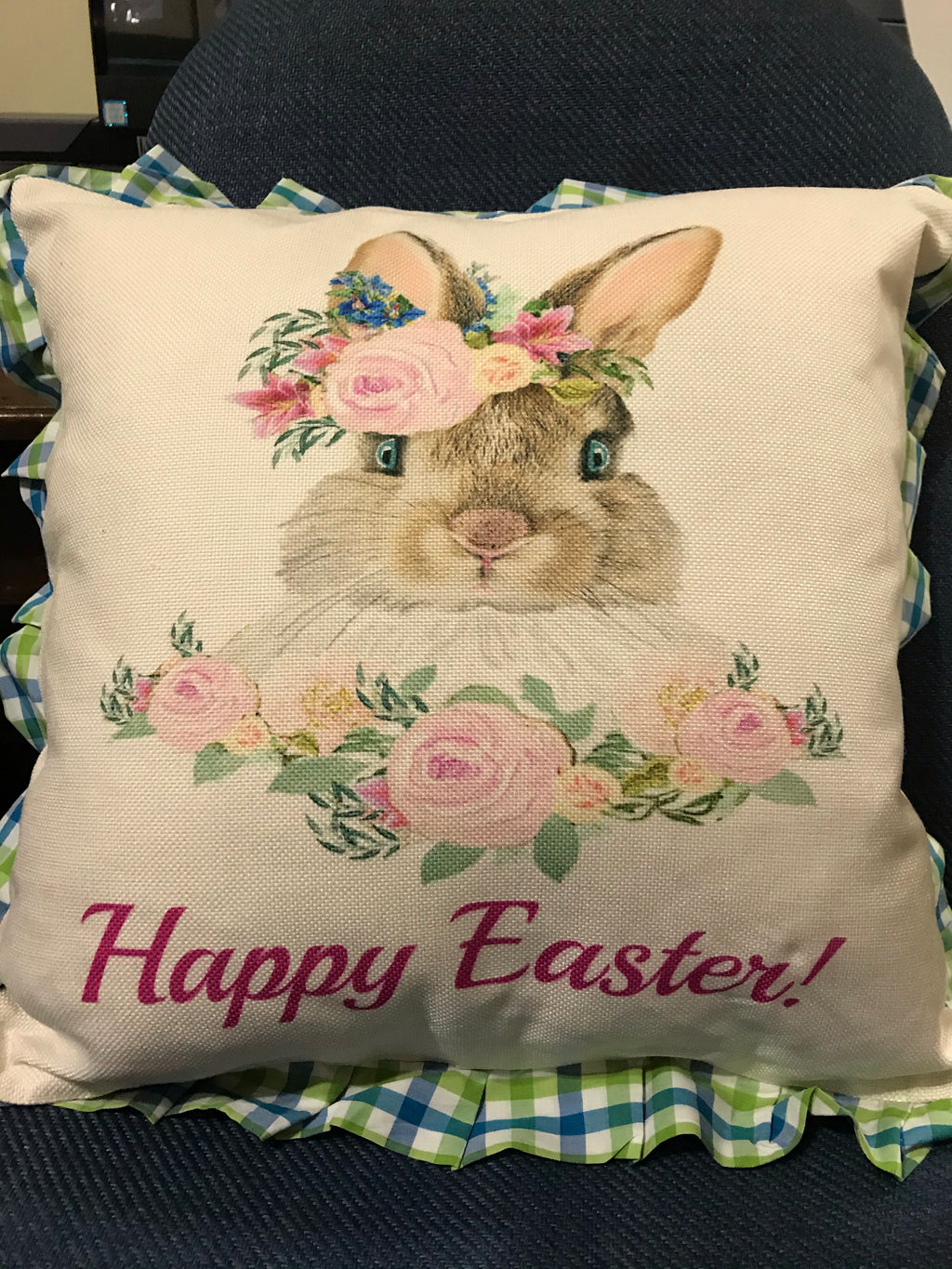EASTER PLAID Pillow Covers GREEN -BLUE