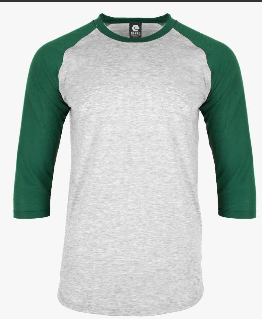Adult 94% Polyester Raglan Shirt GRAY BODY WITH GREEN SLEEVE