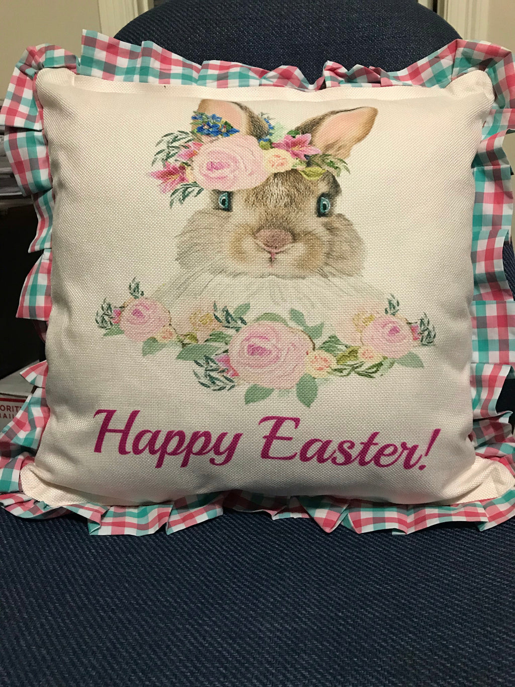 EASTER PLAID Pillow Covers PINK  AQUA