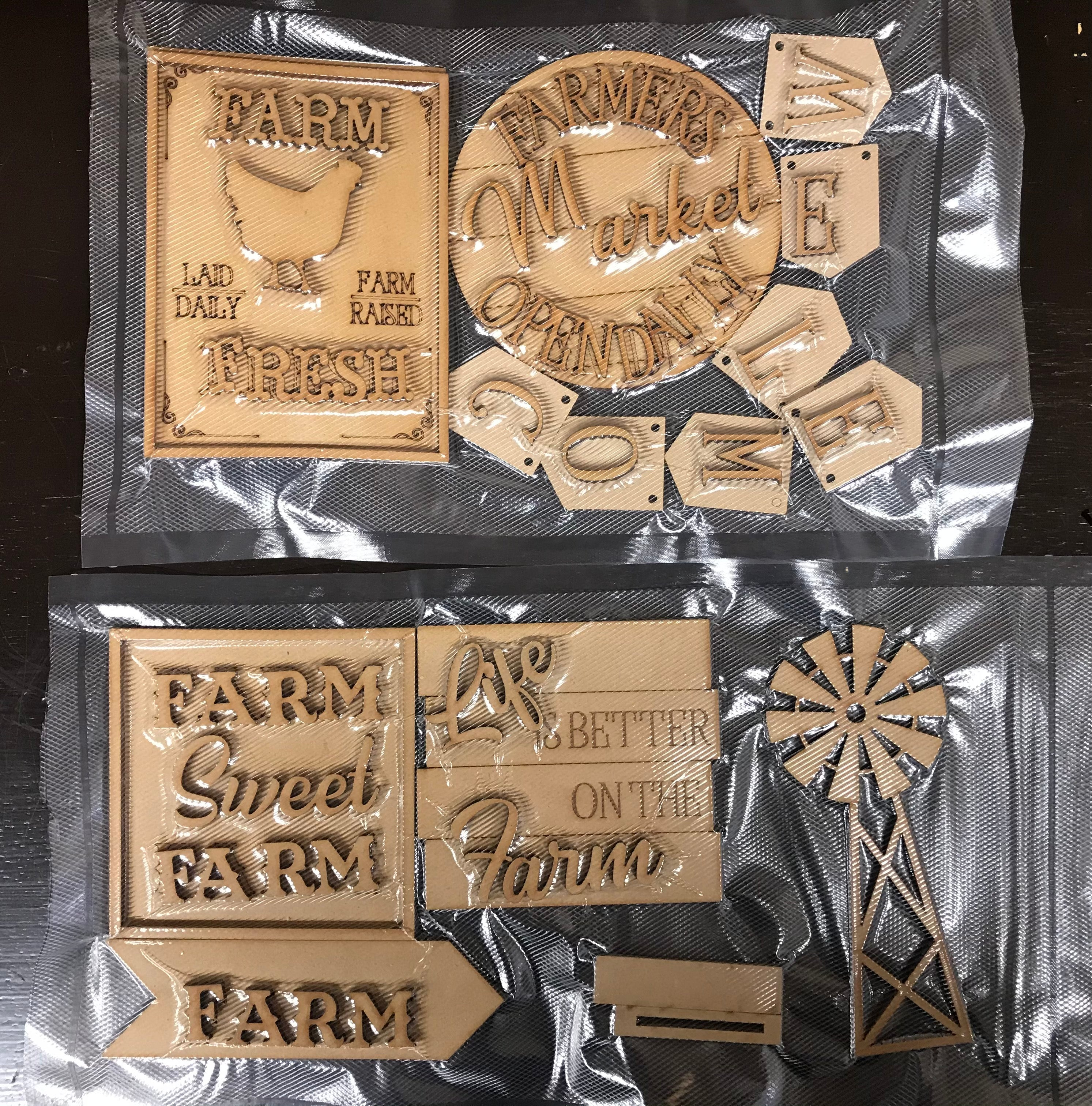 Farm Life Tiered Tray set Unfinished