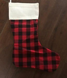 Christmas Stocking Red Plaid