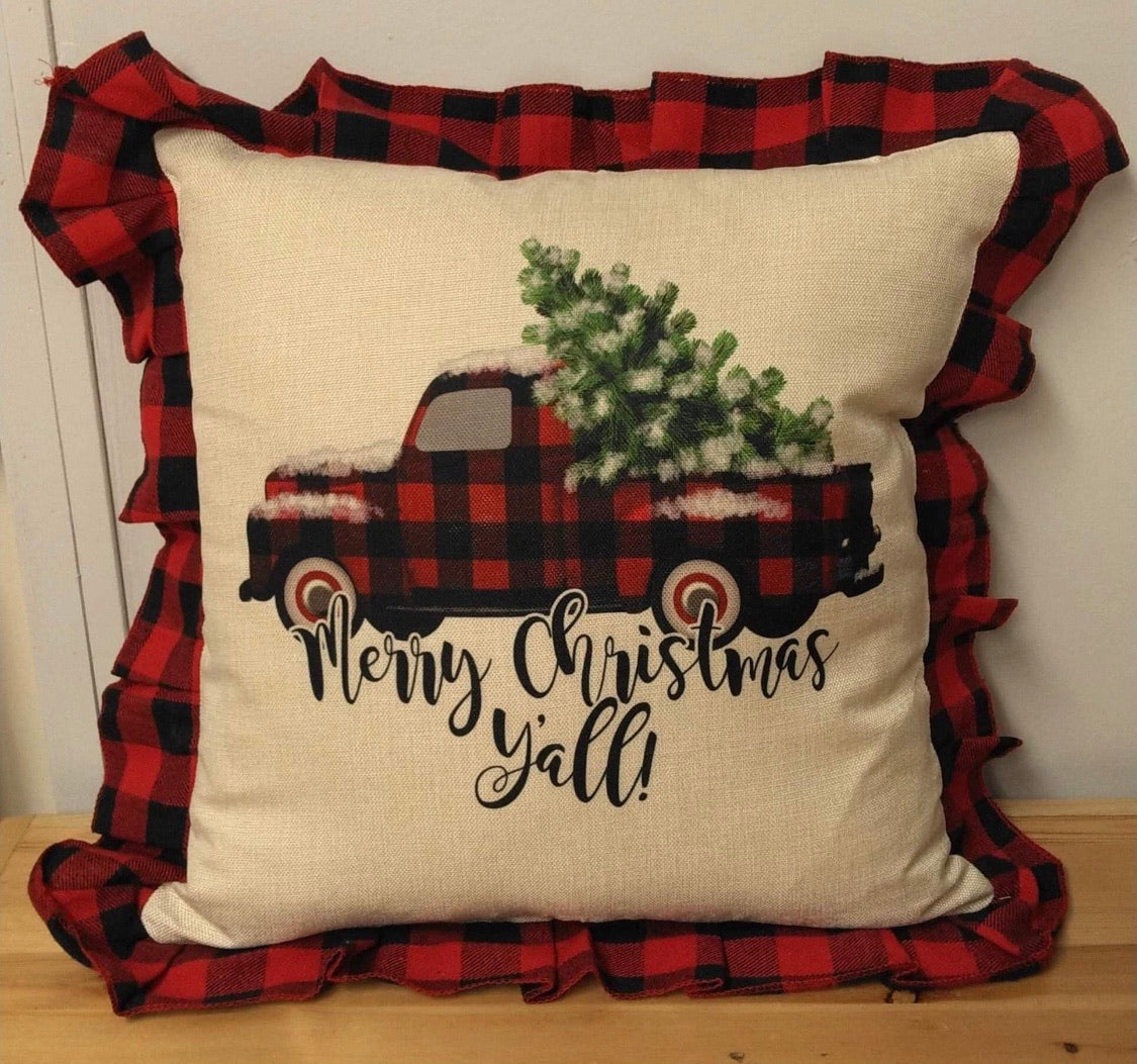 PILLOW COVERS BLACK RED  Christmas plaid