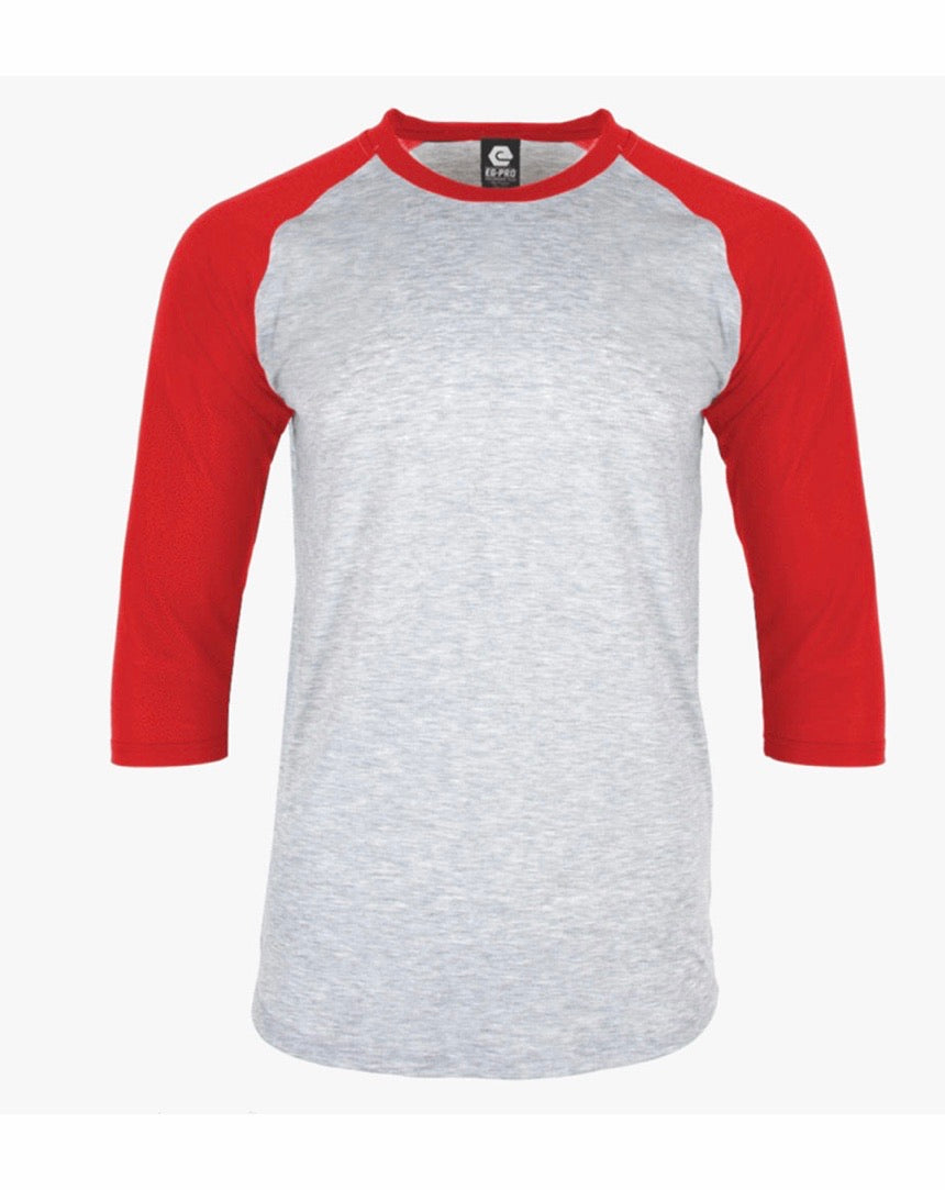 Adult 94% Polyester Raglan Shirt GRAY BODY WITH RED SLEEVE