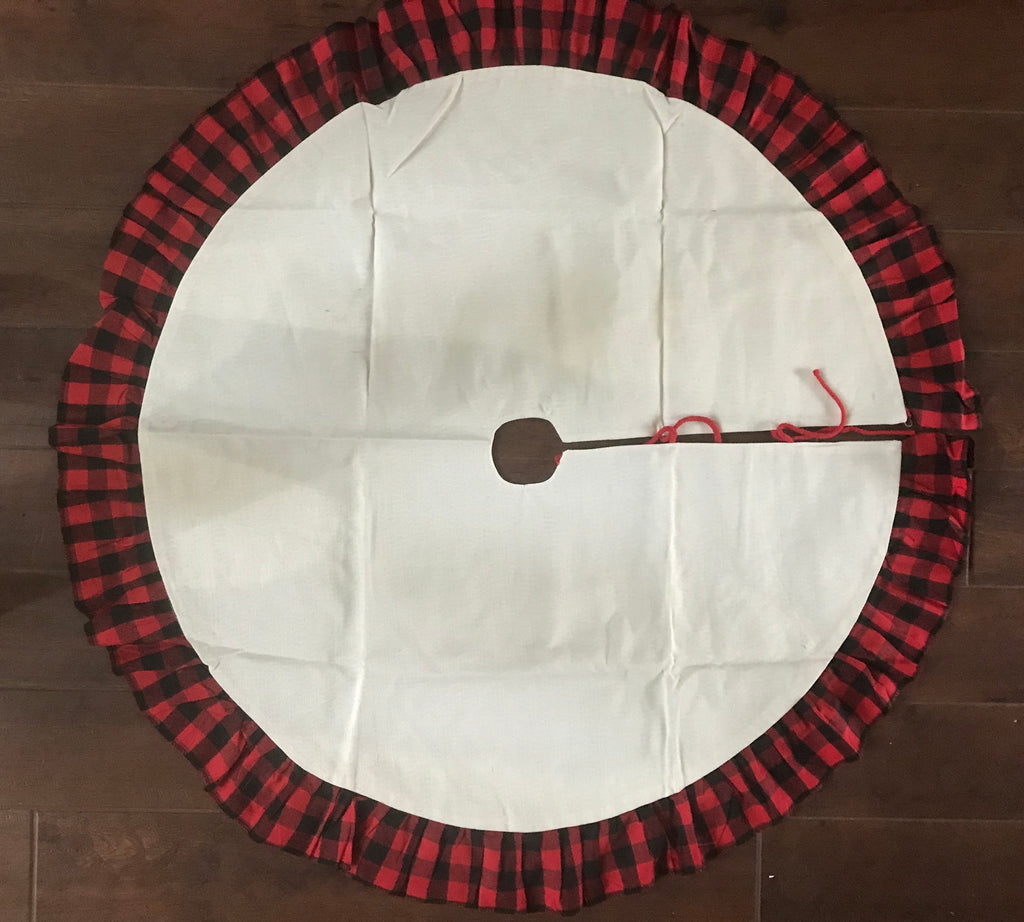 Christmas Tree Skirt BLACK AND RED BUFFALO Plaid
