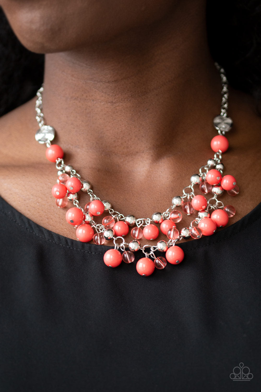 Seaside Soiree Orange Silver Beaded Necklace Paparazzi Accessorie Bling With Dawn