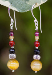 Hill Tribe and Tiger's Eye Earrings