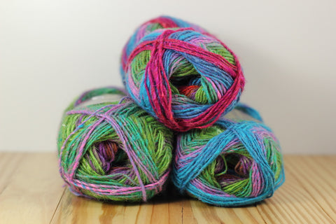 Silk Garden Sock S304 Hot Pink Turquoise Lime