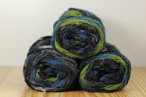 Silk Garden Sock S252 Black Lime Blue