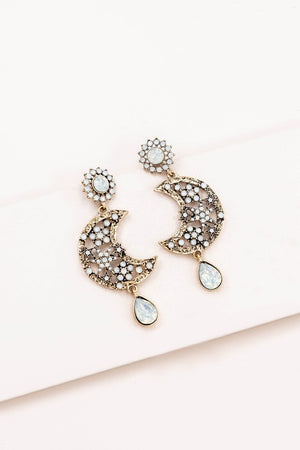 To the Moon and Back Rhinestone Statement Earrings