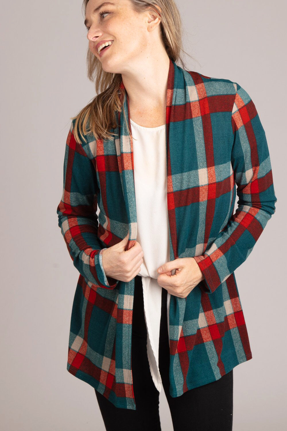 Maddie Plaid Open Front Elbow Patch Cardigan