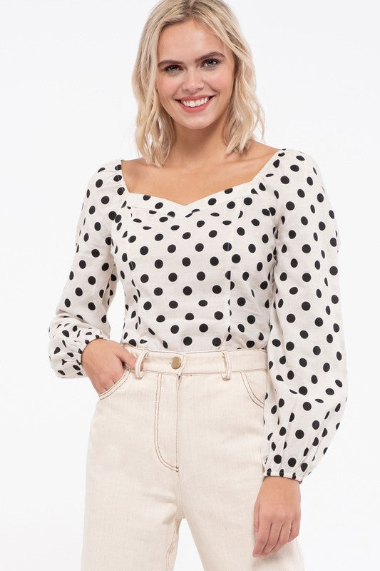 Love Letters Polka Dot Cropped Top