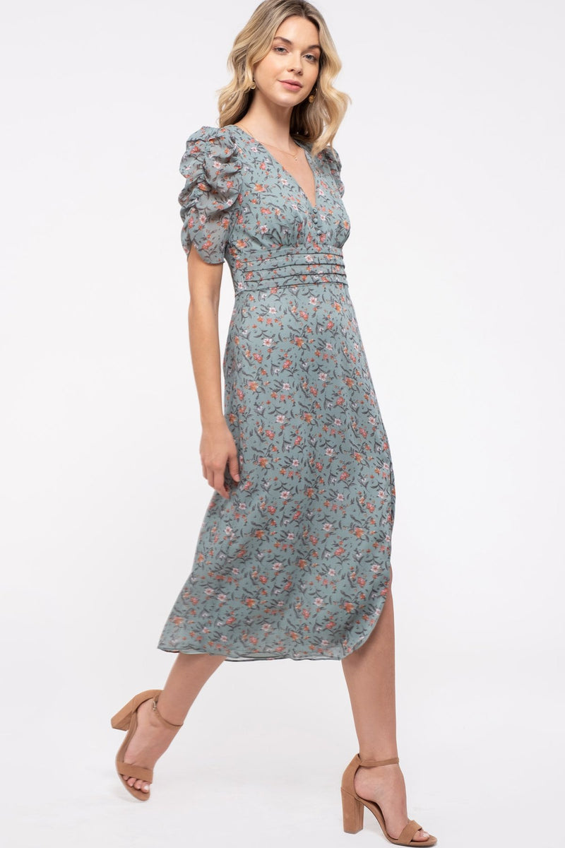 Serena Puff Sleeve Floral Dress