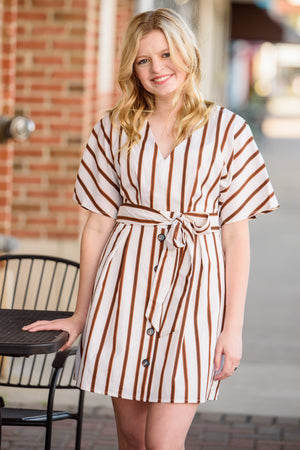 Weekend Plans Striped V-Neck Button Front Dress