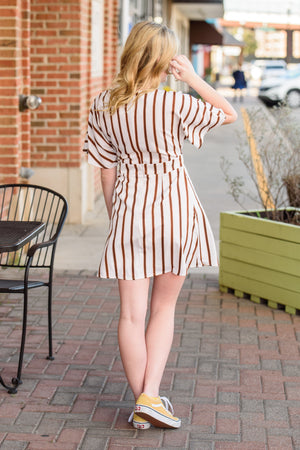 Shop Style Stitch - Weekend Plans Striped V-Neck Button Front Dress